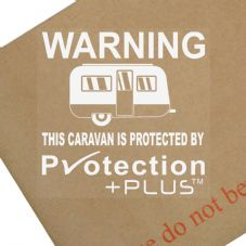 Caravan Protected By Protection Plus-Sticker,Vinyl,Sign,Security,Warning,Notice,GPS,Fake,Tracking